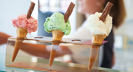 Choose from a wide variety of delicious ice cream flavours.